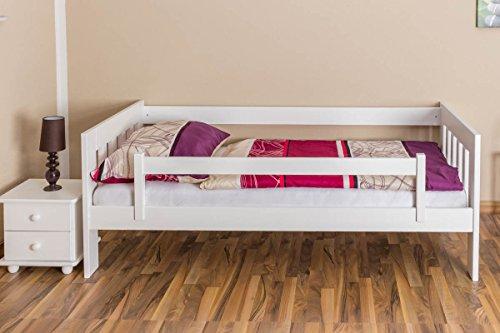 Kinderbett / Juniorbett Kiefer massiv Vollholz weiß lackiert 95, inkl. Lattenrost - 90 x 200 cm (B x L) - 7