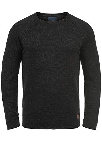 Blend Dan Herren Strickpullover Feinstrick Pullover Mit Rundhals Und Melierung, Größe:XXL, Farbe:Black/Charcoal (71527)