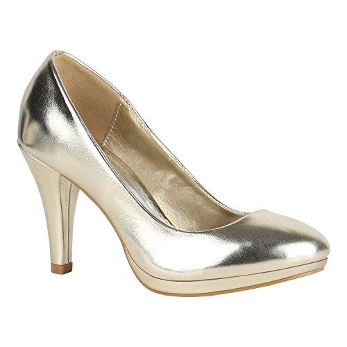 Elegante Klassische Damen Schuhe Pumps Glitzer Abendschuhe 155908 Gold Agueda 40 Flandell