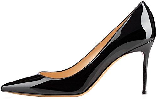 ELEHOT Femme 12cm Taille EU 34-46 Elenow Aiguille 12CM Synthétique Escarpins noir 8.5cm