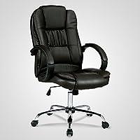 UEnjoy Fauteuil Chaise de Bureau Noire Luxe Ergonomique Pivotante Confortable