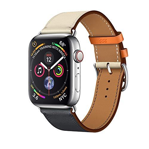 Aimtel 44mm(42mm) Armband,Soft Multi-Color Single-Turn Doppel-Kreis Leder Ersatz Band Zubehör kompatibel iwatch Serie 4/3/2/1(44mm-weiß orange)