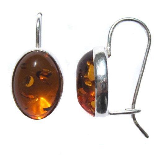 Bernstein Sterling-Silber Oval - Silber Oval Ohrringe