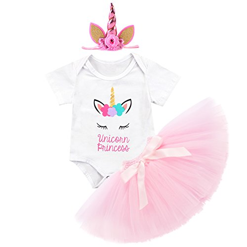 Baby Mädchen 1. Geburtstag Einhorn Outfits 3pcs Bekleidungssets Kleinkinder Kurze/Lange Ärmel Strampler Regenbogen Tütü Rock mit Einhorn Stirnband Partei Kostüm für Fotografie ()