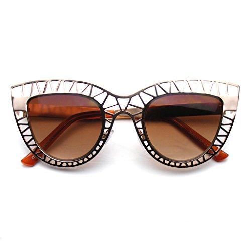 Emblem Eyewear - Womens Indie Moda Trendy Gatto Occhio Occhiali Da Sole Metallo Hollow Cut-Out (Oro)