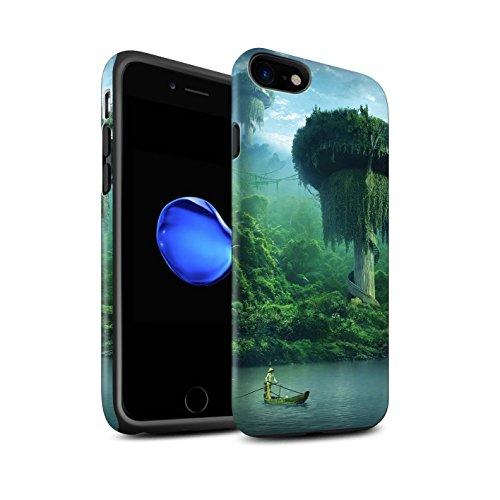 Officiel Elena Dudina Coque / Matte Robuste Antichoc Etui pour Apple iPhone 8 / Vallée des Dragons Design / Fantaisie Paysage Collection Endroit Calme