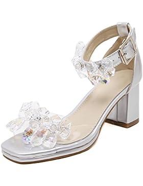 Zapatos de verano de espesor con sandalias piedras romanas más de los Estados Unidos , silver , US6.5-7 / EU37...