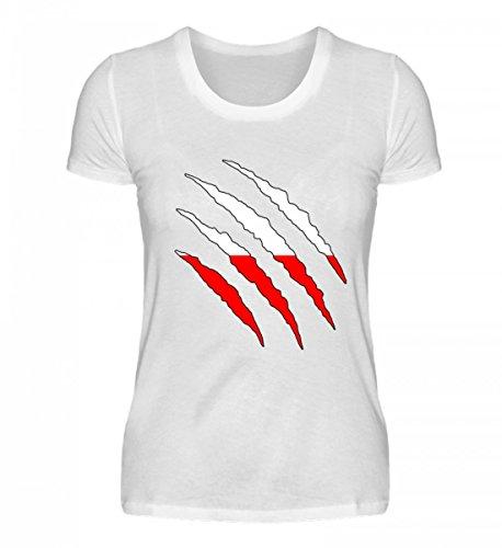 PlimPlom Hochwertiges Damenshirt - Polen WM Fan Tshirt Polnische Nationalmannschaft Shirt Trikot