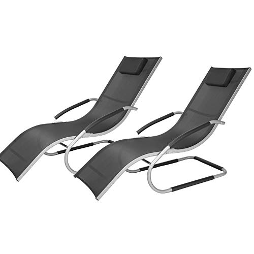 EUGAD 2tlg Gartenliege Sonnenliege Schwingliege für Terrasse Balkon, Relaxliege Gartenstuhl Liegestuhl, Metallgestell + Textilgewebe, Schwarz