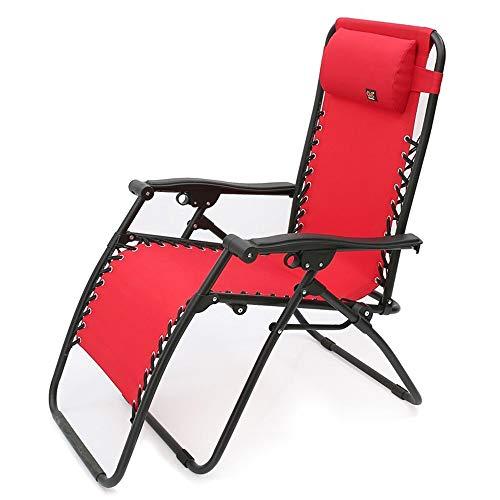 STURDY Liegen Klappsonnenliege schwerelosigkeit terrasse Stuhl im freien liegend Strand Rasen Camping tragbare Stuhl gartenstuhl mit nackenkissen unterstützung 200 kg Relax-Liegestuhl (Color : Red) -
