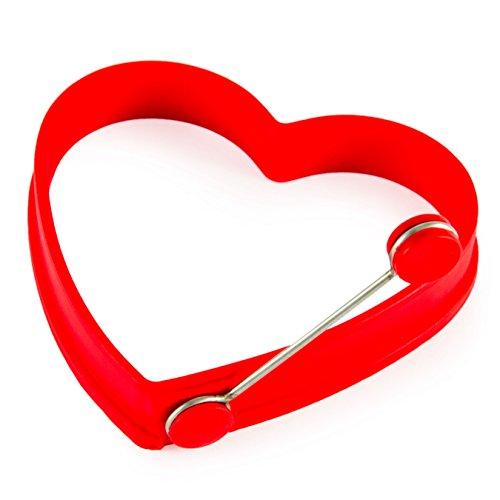 Moule en silicone pour œufs en forme cœur–Cuisiner avec amour, Saint-Valentin, avec barre à détacher, petit déjeuner, brunch, romantique, œuf, Couleur: Rouge