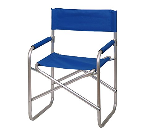 2964 sedia pieghevole regista in alluminio e tessuto canvas di colore blu idrorepellente. mws
