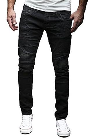 MERISH Biker Jeans Hommes Slim Fit Denim Divers lavages et couleurs Modell J1166 Noir W34