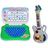 Mahvi Toys Superb Pack Of Mini English Learning Educational Laptop & Musical Guitar With Button (Multicolor)