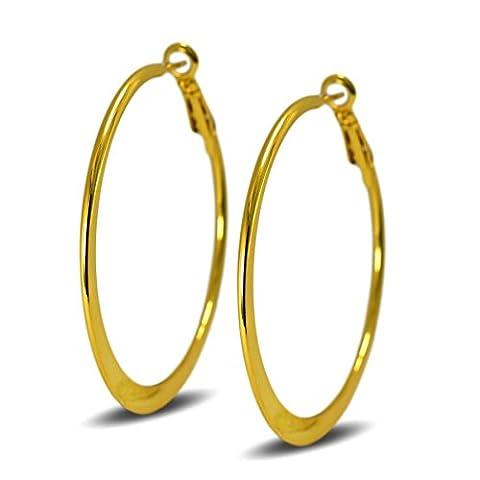 Blue Diamond Club - Medium 50mm 18ct Gold Filled Hoop Earrings Womens Creole