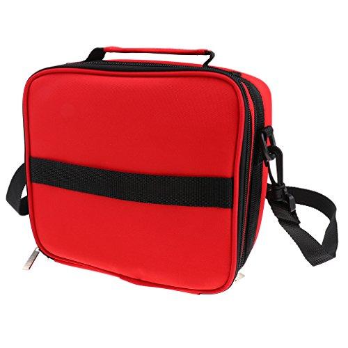 Borsa Stoccaggio Oli Essenziali Olio con Cintura Sacchetto Bag Porta Trucco Salone Massaggi - Rosso