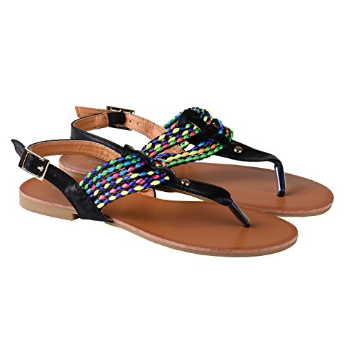 Sandali nei colori nero e bianco con colorati Cinturino in molte misure Nero