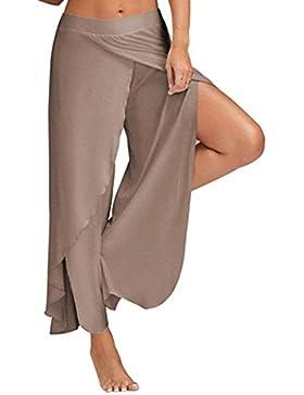 Yasminey Gonna Pantalone Donna Eleganti Pantaloni Estivi Chiffon Pantaloni Palazzo Pantaloni Yoga Monocromo Giovane...