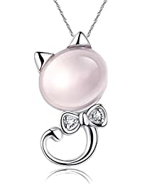 Lily Jewelry kitty Swarovski Elements Cubic Zirconia Crystal Cute Cat Pendant Necklace For Women