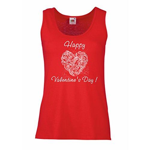 Femme Débardeur Sans manche Je t'aime guillemets - JOYEUSE SAINT-VALENTIN Idées-cadeaux Rouge Multicolore