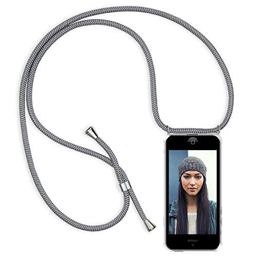 Zhinkarts Handykette kompatibel mit Apple iPhone 5 / 5S / SE - Smartphone Necklace Hülle mit Band - Schnur mit Case zum umhängen in Grau (5 Handys Iphone)