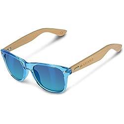 Navaris Gafas de sol UV400 - Gafas de madera para hombre y mujer - Gafas de sol con patillas de madera en diferentes colores - Azul