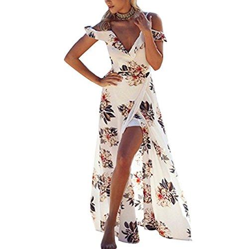 Hello vita Women's Halter Neck Deep V Asymmetrical Floral Print Cocktail Party Beach Maxi Dresses (12, White)