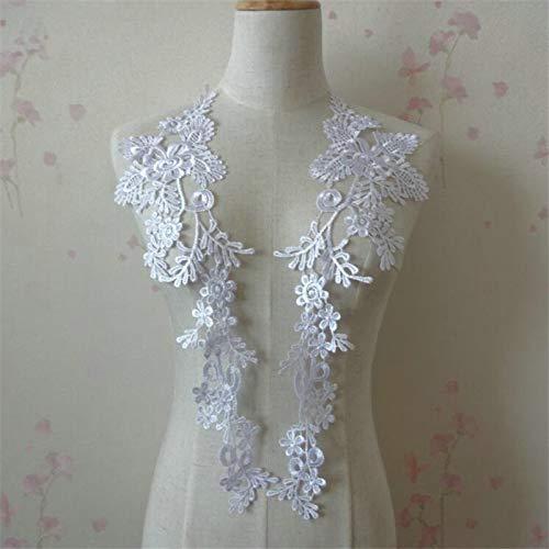 James Fashion 1 Pair Embroidery Applique Wedding Lace Floral Motif Sewing Trims Decoration (Ivory),White White Lace Floral Applique
