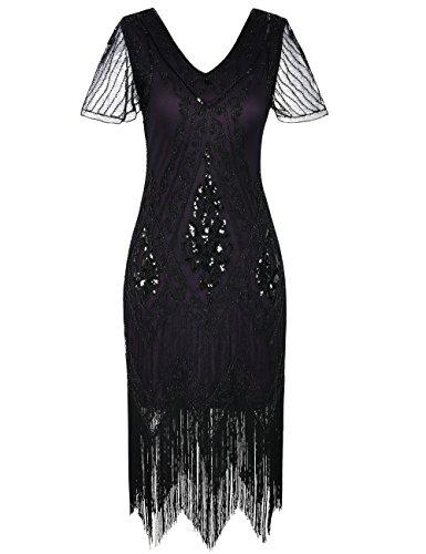 PrettyGuide Damen 1920er Charleston Kleid Pailetten Cocktail Flapper Kleid Mit Ärmel M Lila (Lila Flapper Kleider)