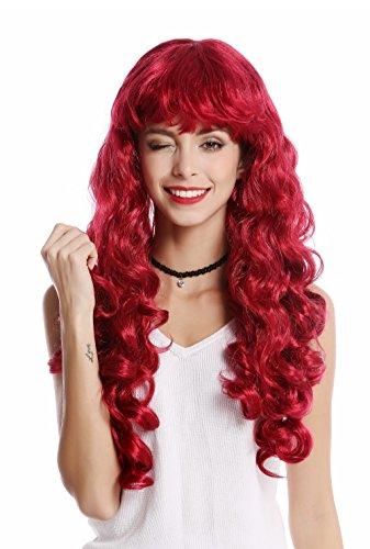WIG ME UP - 0082-ZA13A Perücke Damen Karneval Halloween lang Locken lockig voluminös Pony rot dunkelrot