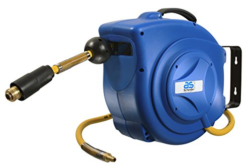 Drucklufttrommel mit 10m PVC-Gewebe Druckluftschlauch mit Schnellkupplung und Schlauchstopp + 1m Anschlusschlauch