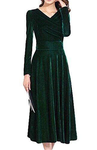 PLAER Mode Noble or pour femme Robe en velours à manches longues Vert