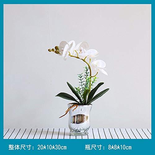 TACKEBU Künstliche Orchidee Gefälschte Blume Phalaenopsis Home Wohnzimmer Dekoration Kunststoff Glas Vase Weiß 30 × 20 cm