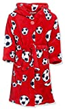 Playshoes Fleece-Bademantel Fußball, Accappatoio Bambino, Rosso (Rot 8), 146 (146/152)