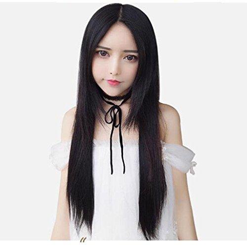 Sra. negro peluca temperamento El pelo largo sin costura simulación tipo U...