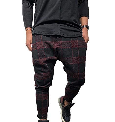 Pantalones a Cuadros Escoceses para Hombre Pantalones Ajustados Pantalones de Verano Entrenamiento