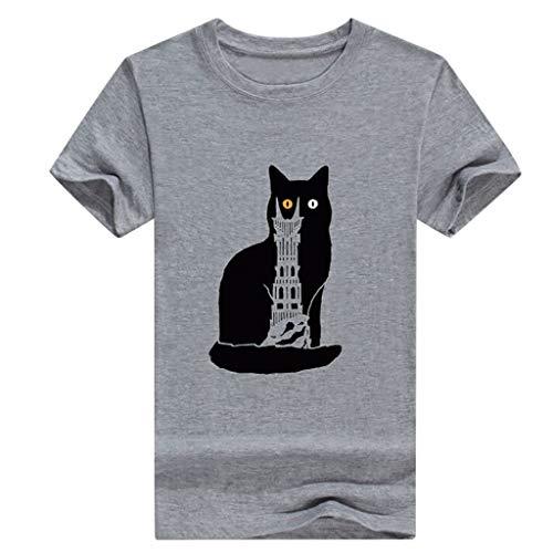 iYmitz Mode Damen Übergröße Kurzarm T-Shirt Sommer O Neck Bluse Katzendruck Slim Fit Top Bluse Gedruckt Beiläufige Frauen Oberteil(Grau,EU-40/CN-XL)