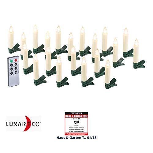 Lunartec LED Tannenbaum Kerzen: 20er-Set LED-Weihnachtsbaum-Kerzen mit IR-Fernbedienung, Timer, weiß (Weihnachtsbaumkerzen LED)