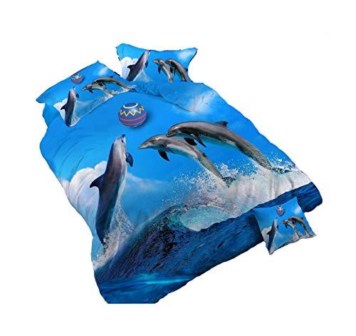 4Piece Jumping Dolphin Palying Wasser Ball 3D Bettwäsche-Set, Animal Prints Bettbezug Set Double Größe Tröster -