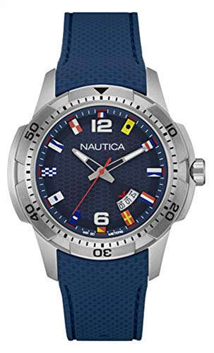 Nautica Herren Analog Quarz Uhr mit Silikon Armband NAI13515G (Uhren Nautica Silber)