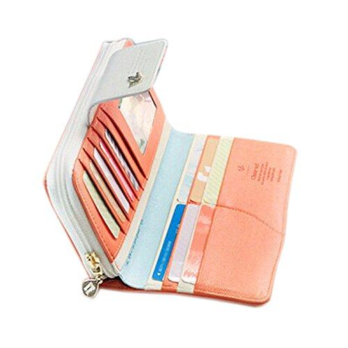 Koly Oiseaux Embrayage Portefeuille éTui En Cuir Zip Long Bouton Carte Sac à Main (Orange)