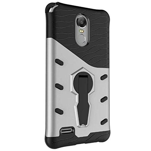 LG Stylus 3 Hülle - Tianqin Robust und Langlebig Ultra Dünne Stent Hard Shell Mischen Stoßfest Rüstung Schutz Case Cover für LG Stylus 3 - Silber