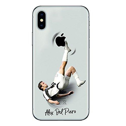 Iphone x cover tpu gel trasparente morbida custodia protettiva, soccer collection, alex del piero, iphone x ten