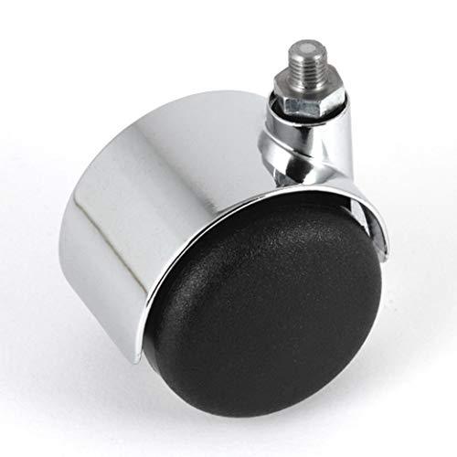 Ruote per mobili, non frenate, cromate, 50 mm, filettatura M8, per mobili USM Haller senza pneumatici aggiuntivi, per pavimenti morbidi, senza freno