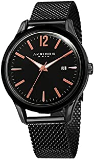 ساعة يد اكر يبوس XXIV للرجال ذات قرص اسود من الفولاذ المقاوم - AK920BK