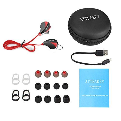 Bluetooth Kopfhörer, AELEC S350 Wireless In-Ear Kopfhörer Ohrhörer Sport Sweatproof Noise Cancelling Kopfhörer mit Mikrofon für das Laufen Joggen, Rot - 7