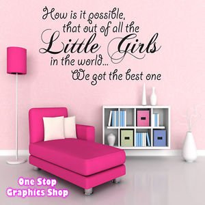1Stop Graphics   Shop Best Little Girl Wall Art Quote Sticker   Baby Kids  Girl Bedroom