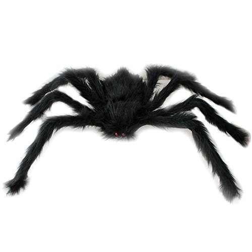 Enshey Peluche Araignée Noire,New Fashion Party Supplies Halloween Prop araignée noir 75 cm Marionnette en peluche Jouets Halloween Decor – Noir 0190891302090