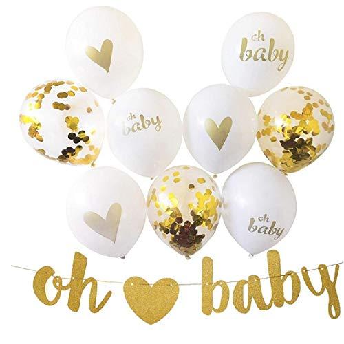 AMOYER 1 Satz Babyparty-Partei-Dekor Gold-Weiß Luftballons Dekoration Glitter Buchstaben Fahne Mit Herz Mit 10 Luftballons Für Kleinen Jungen Oder EIN Mädchen (Und Parteien Luftballons)