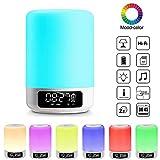 RQINW Nachttischlampe, Touch-Einstellung, Bluetooth-Lautsprecher Mit Wecker Imm Dimmbare Farbe Nachtlicht, Geschenke Für Frauen Und Männer Schlafhilfe